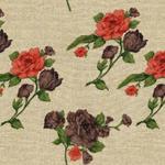 Rose Printed Brown Curtain Fabric