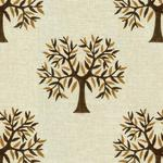 Tree Printed Brown Curtain Fabric