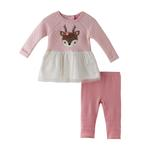 Mini Moi Baby Girl Dress Set , Peach - JCGAW20S19013