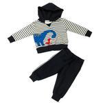 Smart Baby Baby Boys Hoodie With Full Pant Set , White/Navy - HDGLW20B2114