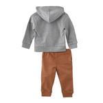 Smart Baby Baby Boys Hoodie With Full Pant Set , Grey Melange/Rust - HDGLW20B2116