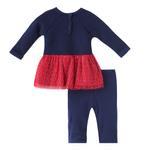 Mini Moi Baby Girl Dress Set , Red/Navy - JCGAW20S19014