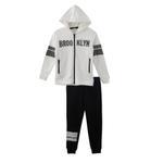 Genius Boys Hoodie With Full Pant Set , White/Black - HDGLW20B2008