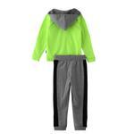 Genius Boys Hoodie With Full Pant Set , Neon Green/Grey Melange - HDGLW20B2029