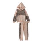 Genius Girls Hoodie With Full Pant Set , Peach - HDGLAW202158