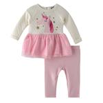 Bonjour Bebe Baby Girl Dress Set , Whit/Pink - JCGAW20S19015