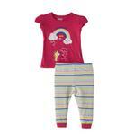 Smart Baby Baby Girl T-Shirt With Long Pant Set, Dark Rani/White - SNGS2035305