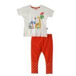 Smart Baby Baby Girl T-Shirt With Legging Set, White/Orange - SNGS2035263