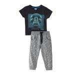 Genius Boys T-shirt With Full Pant Set, Charcoal/Grey Melange - SNGS2034745