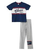 Genius Boy T-shirt With Full Pant Set, Navy/Light Melange - SNGS2034861
