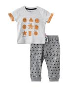 Smart Baby Baby Boys T-shirt With Full Pant Set,White Melange /Grey - SNGS2035091