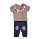Wonderchild Baby Boys 2 Piece Set, Brown/Navy-WCG1719823