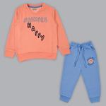 Genius Girls Sweatshirt With Full Pant Set , Peach/Blue - SIMGA20341015