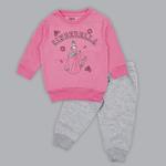 Disney Baby Girl Sweatshirt With Full Pant Set , Rose Pink/Grey Melange - SIMGA20913008