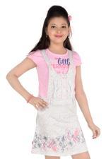 Flower Girl Girls Dungaree With Top, Grey/Pink-MCG743