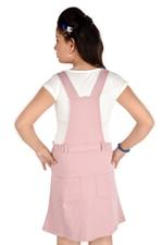 Flower Girl Girls Dungaree With Top, Pink/White-MCG749