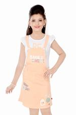 Flower Girl Girls Jumper Dress with T-shirt ,White/Orange-MCG747