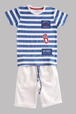 Genius Boys T-shirt With Jamaica Set , Navy Striper/White - MCGSS201099