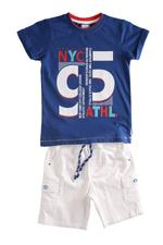 Genius Boys T-shirt With Bermuda Set , Royal Blue/White - MCGSS201054