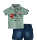 Smart Baby Baby Boy Polo T-shirt With Bermuda Set , Forest Green/Denim Blue - MCGSS20845