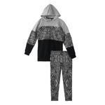 Genius Girl Hoodie With Legging Set , Grey/Black - HDGLAW202141