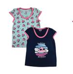 Smart Baby Baby Girl 2 Piece Pack Top, Navy Blue/Ice Blue- NCGSS21SBPG5A