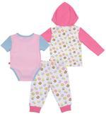 Fisher Price Baby Girl 3pc Set, White/Pink-NCGNCW14