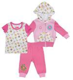 Fisher Price Baby Girl 3pc Set, Pink/White-NCGNCW15