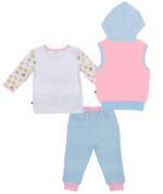 Fisher Price Baby Girl 3pc Set, Blue/White-NCGNCW16