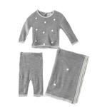 Rock a Bye Baby Baby Unisex 2pcs Set With Shawl , Grey - JCGS19078