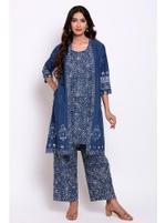 Biba Women Indigo Cotton Straight Fusion Wear 3 Piece Set,Indigo,BG1164IND42