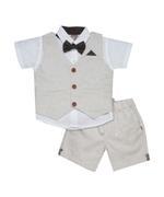 Little Kangaroos Baby Boy 4pc Formal Set , Oat/White - ROGS2019281A