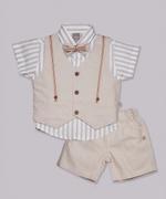Little Kangaroos Baby Boy 4pc Formal Set , Fawn - ROGS2019280A