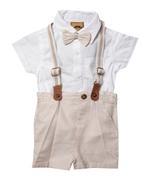 Little Gent Baby Boys 4Pcs Set ,White/Beige, JCGS21R18308