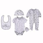 Bonjour Bebe Baby Unisex 5 Pieces Combo Set, White/Grey-JCGQ17628