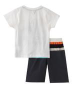 Genius Boys T-shirt With Bermuda Set , Off White/Black - SNGS2034696