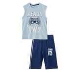 Genius Boys T-shirt With Bermuda Set,Sky Blue/Navy - SNGS2034818