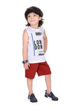 Genius Boys T-shirt with Bermuda Set,White/Rust,SIMGS21221012