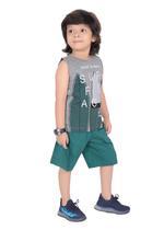 Genius Boys T-shirt with Bermuda Set,Grey/Green,SIMGS21221010