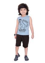 Genius Boys T-shirt with Bermuda Set,Blue Melange/Brown,SIMGS21221008