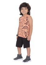 Genius Boys T-shirt with Bermuda Set,Light Fawn/Black,SIMGS21221013