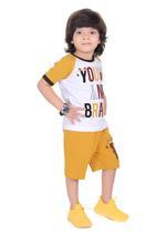 Genius Boys T-shirt with Bermuda Set,White/Gold,SIMGS21211053
