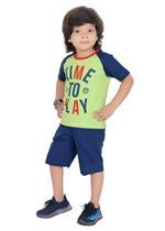 Genius Boys T-shirt with Bermuda Set,Lime/Navy,SIMGS21211038