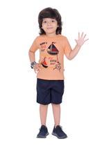 Genius Boys T-shirt with Bermuda Set,Peach/Black,SIMGS21211041