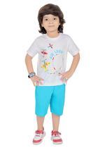 Genius Boys T-shirt with Bermuda Set,White/Blue-SIMGS21211043