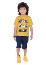 Genius Boys T-shirt with Bermuda Set,Yellow/Teal-SIMGS21211046