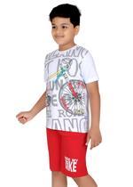 Genius Boys T-shirt with Bermuda Set,White/Red-SIMGS21211067