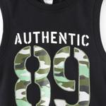 Genius Boys T-shirt With Bermuda Set,Black/Grey Melange - SNGS2034664
