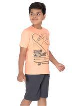 Genius Boys T-shirt with Bermuda Set,Peach/Grey-SIMGS21211058