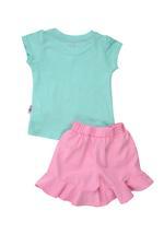 Smart Baby Baby Girl T-shirt With Bermuda Set , Sea Green/Pink - MCGSS201830